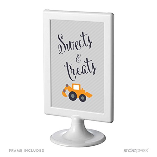 Andaz Press Birthday Framed Party Sign, Double-Sided 4x6-Inch, Sweets & Treats, Construction Truck Digger, 1-Pack, Includes Frame Digger Framed Print