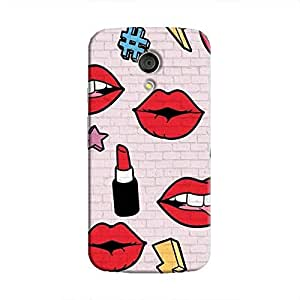 Cover It Up Lipstick Stickers Wall Hard Case For Moto G2 - Multi Color
