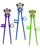 Kids Monkey Chopsticks - Training Chopsticks for Beginners, Kids, Teens or Adults - set of 3 Animal Silicone Blue, Green, Purple