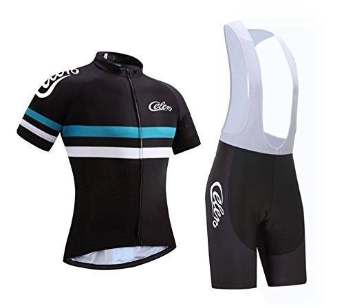 Celero Men s Cycling Suits Short Sleeve Bike Jersey and Bib Shorts(Blue 26605e83b