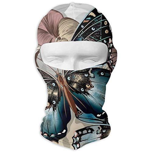 Vintage Colorful Butterflies Floral Art Outdoor Outdoor Sports Activities Equipment Sun Protection Full Face Mask Hood - Hunting Hiking Training Masks Motorcycle Helmet Anti-scratch Inner Lining (Vintage Full Face Motorcycle Helmets For Sale)
