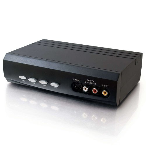 (C2G 28750 4x2 S-Video +  Composite Video + Stereo Audio Selector Switch, Black)