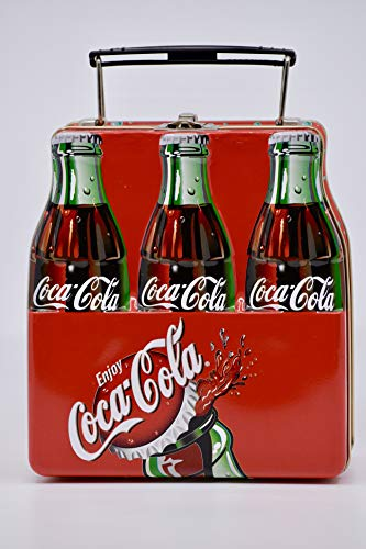 2001 - Coca-Cola Tin - Coke 6 Pack Shaped Tin - Plastic Handle/Metal Latch - 6 x 5.5 x 3 inches - Collectible