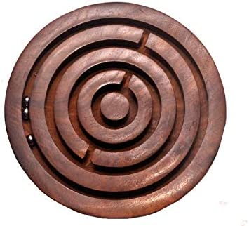 Handcrafted in India Nirvana Class Handmade Wooden Game Labyrinth 6 Round Puzzle