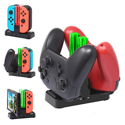 [New Version]Charger for Nintendo Switch Pro Controllers and Joy-Cons,Charging Stand for Nintendo Switch with 2 Type-C USB Ports and 1 Type-C USB Charger ()