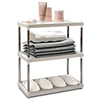 GANZAO Stainless Steel Rack, Multi-Function Three-Tier Rack Bedroom Living Room Finishing Frame Sturdy and Durable Structure Storage Stable (Size: 422255cm)