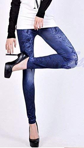 Stampa Idea Regalo Teschio Skull Pantacollant Effetto Jeans Taglia Unica Aderente Inception Pro Infinite Leggings Donna Elasticizzato