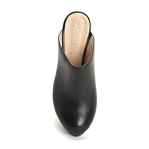 ALESYA by Scarpe&Scarpe - Zuecos con plataforma, de Piel, con Tacones 8 cm Negro