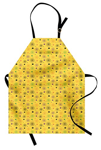 Lunarable Spiderweb Apron, Cute and Funny Halloween Background Pattern with Spiders and The Smiling Faces, Unisex Kitchen Bib Apron with Adjustable Neck for Cooking Baking Gardening, Multicolor