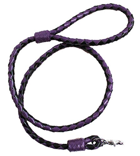 CHALLENGER 4 ft Soft Leather Round Braided Dog Collar Leash Purple 60006PR