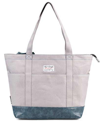 AMY Womens Large Canvas Tote Bag for Work Teachers Nurses | with 12-inch Computer Compartment | Grey/Navy