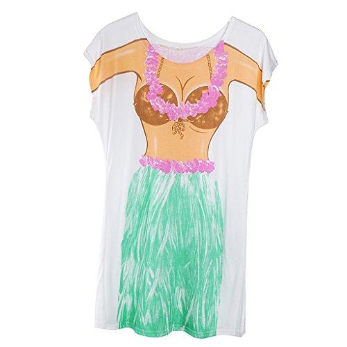 Homyl Funny Women Summer Beach Bikini Cover-up T-Shirt Long Tee Tops Swimwear Hen Party Fancy Dress Birthday Gift Pajamas - Hawaiian Hula Skirt, as - Funny Bikini Shirt