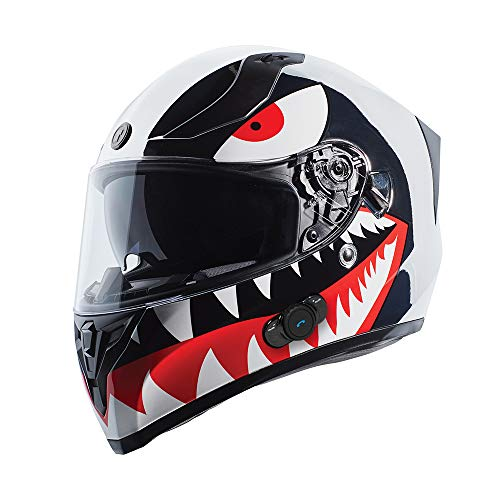 TORC T15B Bluetooth Integrated Full Face Motorcycle Helmet With Graphic (T15B Chrome Flying Tiger, Large)