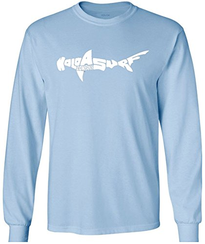 Wide Neck Logo Top - Joe's USA Koloa Surf Tall Hamerhead Shark Logo Long Sleeve Cotton T-Shirt-LightBlue/w-LT