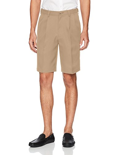 Haggar Men's Cool 18 Pro Classic Fit Stretch Solid Pleat Front Short,khaki,36