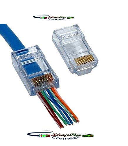 RJ45 8P8C CAT5 CAT5e Connectors - EZ End Pass Through Ethernet RJ-45 Gold Plated Cable Clamshell CAT 5/5E Connector One-Piece High Performance Modular Crimp Plug (Cat5/5e 100 Pcs)