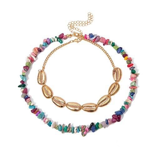 Bohemian Layered Necklace,Crytech Boho Vintage Gold Plated Conch Shell Beaded Choker Beach Hawaiian Turquoise Beaded Chain Handmade Colored Gemstones Necklace for Women Girls (Multicolor)