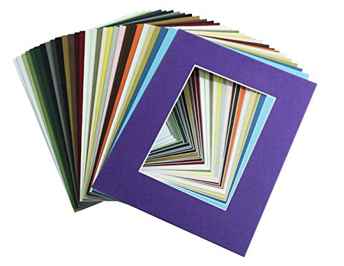 (Mat Board Center, Pack of 20, 8x10 MIXED COLORS White Core Picture Mats Mattes Matting for 5x7 Photo)