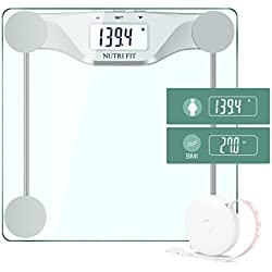 Digital Body Weight Bathroom Scale BMI, Accurate Weight Measurements Scale,Large Backlight Display and Step-On Technology,400 Pounds,Body Tape Measure Included