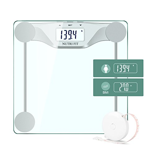 Digital Body Weight Bathroom Scale BMI,Accurate Weight Measurements Scale by NUTRI FIT,Large Backlight Display and Step-On Technology,400 pounds,Body Tape Measure Included,Silver
