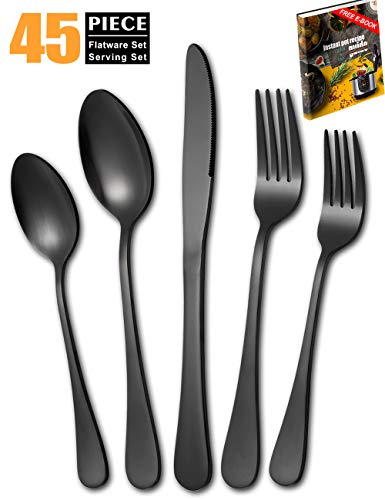 Matte-Black-Silverware-Set, 45 Piece Stainless Steel Flatware Set Cutlery Utensil Service for 8 with Large Spoon Fork Knife Set ()