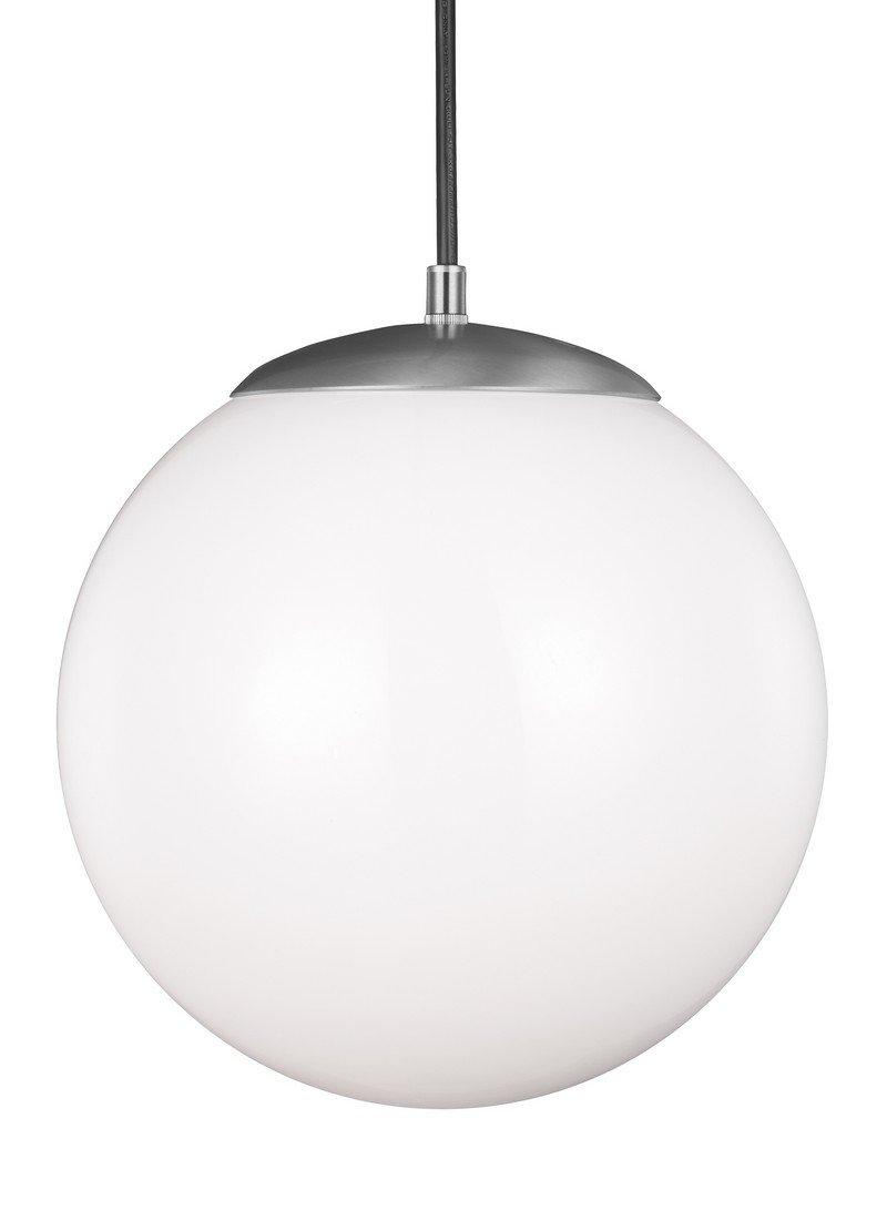 Sea Gull Ligthing 6022-04 Leo One-Light 12'' Hanging Globe Pendant, Satin Aluminum Finish