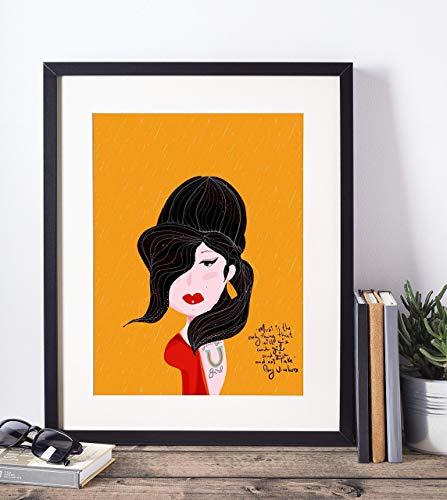 Amy Winehouse Art Print- Music lover -Girl Power -Jazz lover - 11