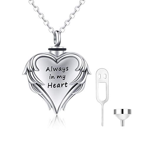 Cuoka Urn Necklaces for Ashes Cremation Jewelry for Ashes 925 Sterling Silver Cremation Necklace for Ashes Angel Wing Always in My Heart Necklace Ashes Necklace (Always in My Heart)