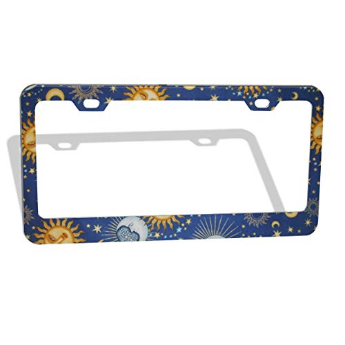 (GGRGVR Universal Celestial Sol Sun Moon Stars Blue Print Funny Car License Plate Frame)