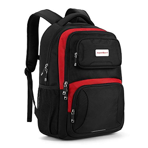 ASPENSPORT Laptop Backpack for School College Students Water Resistant Book Bag for Boy and Girl - fit 16inch Computer Carry-On Backpack Travel Durable Work Daypack 30L Black/Red