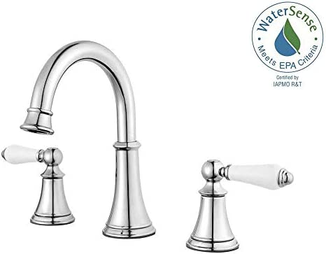 Price Pfister Courant LF-049-COPC Polished Chrome 8 – 15 Widespread Lavatory Faucet with Porcelain Handles