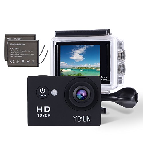 YELIN 1080P Full HD 2.0 inch LCD Screen Waterproof Sports Action Camera Cam DV 5MP DVR Helmet Camera Sports DV...