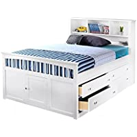 Beatrice Youth Full Captains Bed in White Finish