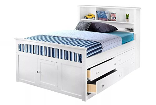 Beatrice Youth Full Captain's Bed in White Finish - Youth Full Captain Bed