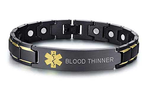 Blood THINNER Black Ion Plated Stainless Steel Magnetic Therapy Health Emergancy Medical Alert ID Bracelets for Men Dad,8.6