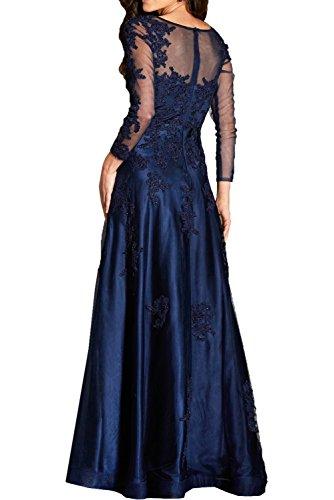 Dunkel Ballkleider Marie Damen Abendkleider Blau Braut Tinte Lang Spitze Festlichkleider La Langarm Blau BEAFUz