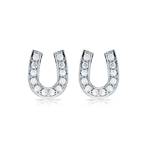 Horseshoe Ring Ladies Diamond (10k White Gold Horseshoe Shaped Round-Cut Diamond Earrings (1/10 cttw))