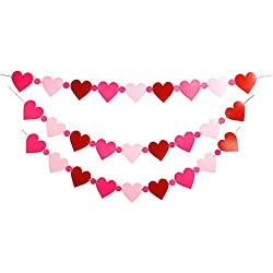 Valentine's Day Love Hearts Banners - Red Pink Garland Ornaments - Wedding Party Decorations Supplies