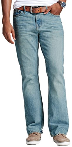 Light One Northfield (Mossimo Men's Northfield Bootcut Jeans (Stonewash Light Wash, 42W X 32L))