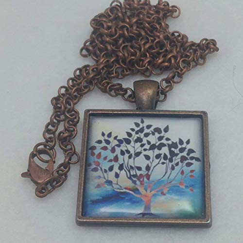 Whimsical Tree of Life Pendant Necklace Blue Square Resin Art Jewelry