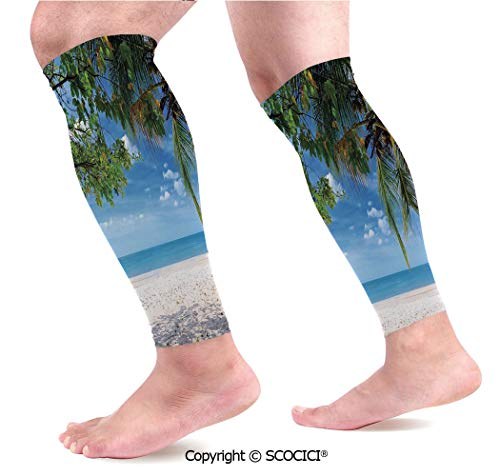 Flexible Breathable Comfortable Leg Skin Protector Sleeve Tropical Beach Ocean Behind Palm Tree Caribbean Exotic Holiday Image Calf Compression - Palm Trees Behind