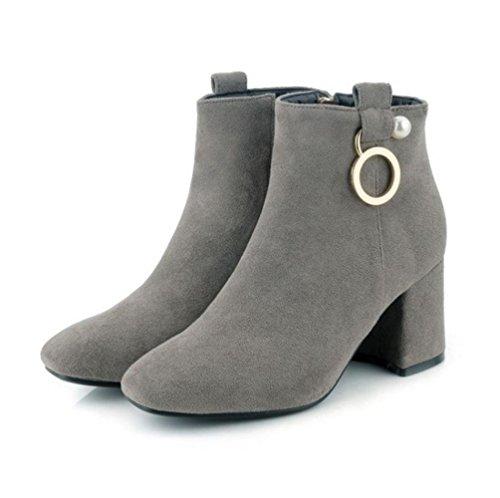 Heart&M Mujer Zapatos Aterciopelado Otoño Invierno Botas de Moda Forro de pelusa Botas Tacón Robusto Dedo redondo Hasta la Rodilla Perla camel