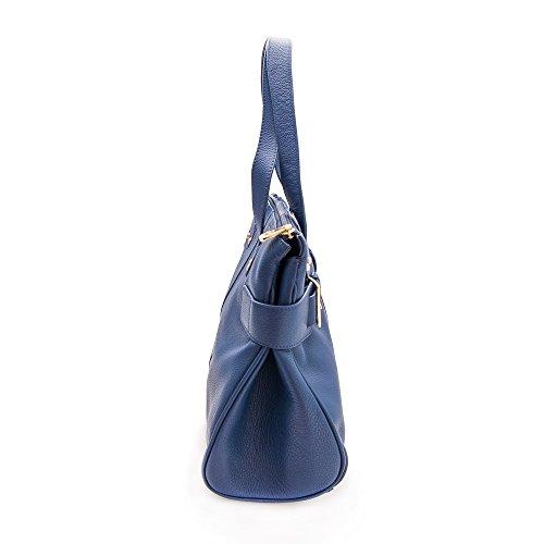 39x26 5x11 In 5 Spalla Donna Navy Colore Zerimar Pelle Grande Misure A Marino Blu Borsa Da Morbida O1nwUT