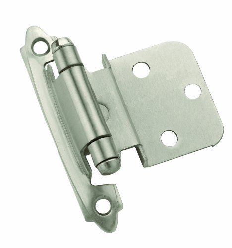 Amerock TEN3428G10 Self-Closing, Face Mount Hinge with 3/8in(10mm) Inset - Satin Nickel - 10 Pack