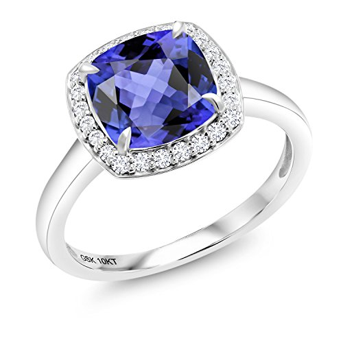 2.94 Ct Cushion Blue Tanzanite 10K White Gold Lab Grown Diamond Ring (Size 8) (Gold Jewelry Tanzanite White Ring)
