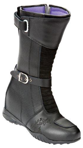 Joe Rocket Heartbreaker Women's Leather Sports Bike Motorcycle Boots - Black / Size 6