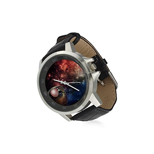 Valetine's Day Boyfriends Gifts Space Sloth Wearing Sunglasses Unisex Black Leather Strap Watch