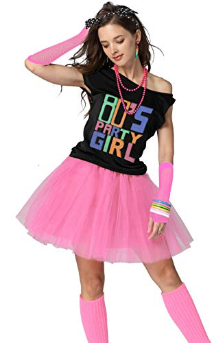 Xianhan 1980s Outfit 80's Party Girl Retro Costume Accessories Outfit Dress for 1980s Theme Party Supplies (M/L, Pink)