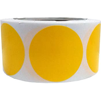 Yellow color coding labels round circle dots 2 inch 500 total adhesive stickers