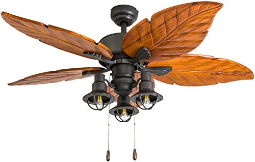 - Prominence Home 50780-01 New Zealand Tropical Ceiling Fan (3 Speed Remote) 52